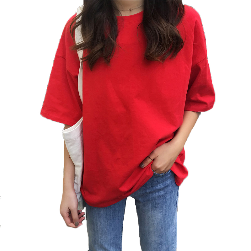Women t shirt loose tshirt cotton summer 2019 camiseta mujer Solid color Oneck t shirt vogue shirt oversize New arrive fashion in T Shirts from Women 39 s Clothing