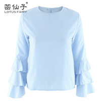 Lotusfairy Blouses 2017 Cute Women S Shirt Ruffles Fashion Blouses Solid Sweet Top Female Round Neck