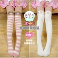 Cute Bear Sheep Ears Pink&White Stripe Winter Warm Over The Knee High Socks Stockings Tights With Thigh Female