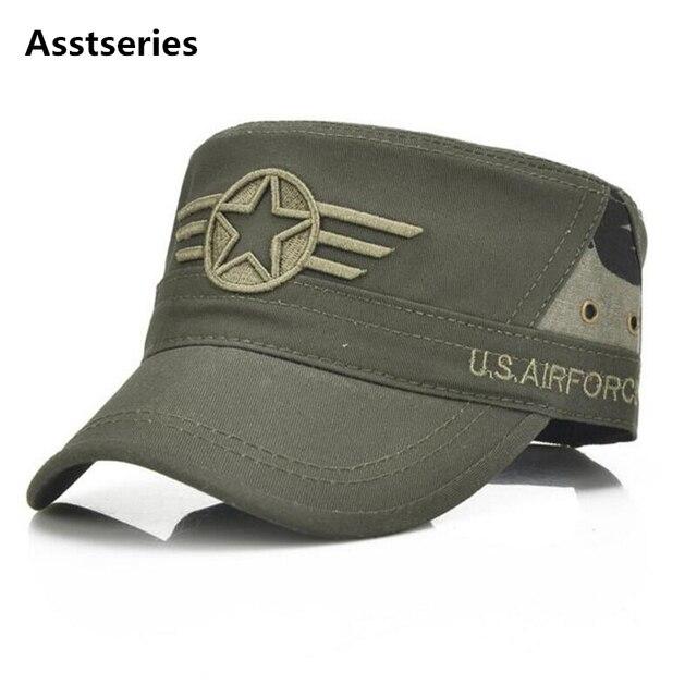 Men Baseball Caps 5 Star Embroidered Logo Flat Top Hats Cotton Snapback  Flat Cap Army Cadet 49d3035fac58