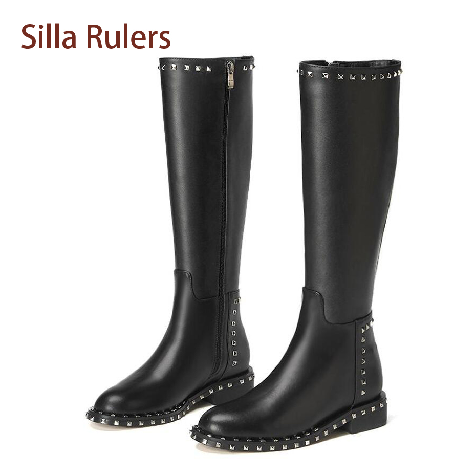 Silla Rulers Winter Women Knee High Boots Rivet Studded Round Toe Low Heel Knigh Boots Black Genuine Leather Motorcycle Boots enmayla winter autumn round toe low heel knee high boots women flats lace up shoes woman rider brown black suede motorcycle boot
