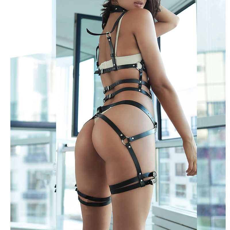 Women 2pcs/set Bdsm Bondage Belt Sexy Garter Belts Leather Harness Underwear Suspender Lingerie Garter Belt Set Thigh Harness