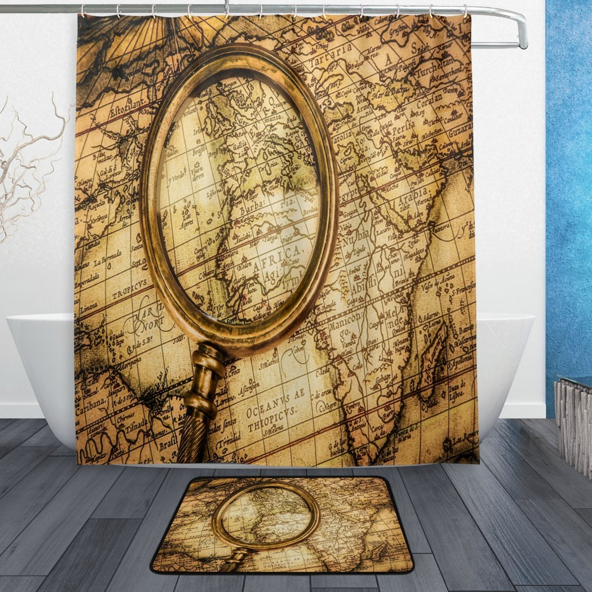 Vintage World Map Magnifying Glass Waterproof Polyester Fabric Shower Curtain with Hooks Doormat Bath Bathroom Home Decor