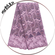 Bridal French Lace Beaded Peach Magenta Lilac Fabric African Nigerian Swiss Cord Laces For Party