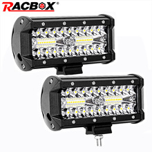 купить Tri-row 120w 7 inch LED Light Bar Flood Spot Combo Beam 12V 24V Car Truck 4WD OffRoad ATV UTV UAZ SUV MPV Boat 7 LED Work Lamp дешево
