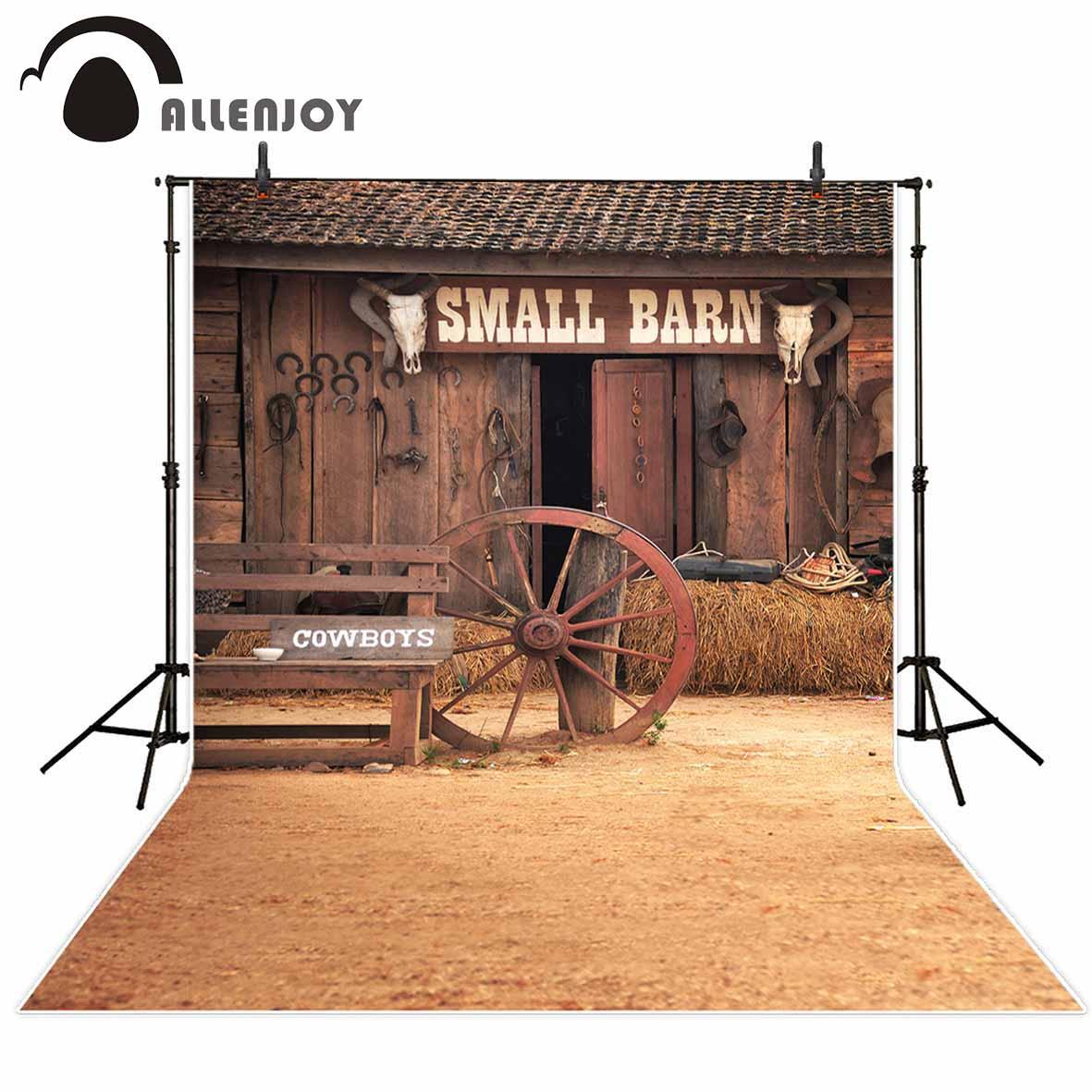 Allenjoy photo background wooden barn wheel cowboy straw vintage photographic background for photo studio photocall vinyl cloth