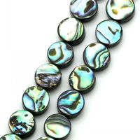 Abalone Shell Loose Beads Round Peacock Blue 8mm Dia 39cm 15 3 8 1 Strand Approx