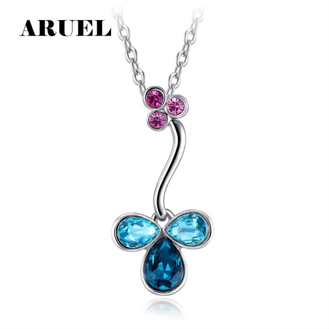 d06b95b49d2 ARUEL fashion Crystal Clover Pendant Necklaces Rose gold/Silver popular  Women wedding party elegant Jewelry Christmas gift
