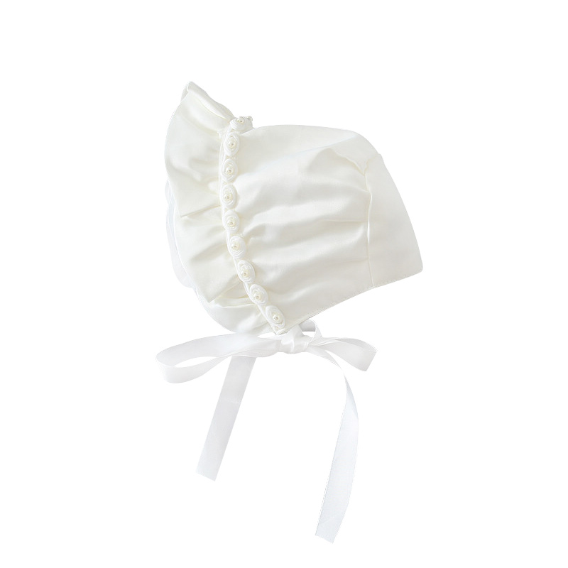 Rose Pearl Baby Hat For Newborn Girls Pricess Baby Beanie Lace Up Sun Protect Infant Girls Hat Spring Autumn Baby Girls Clothing