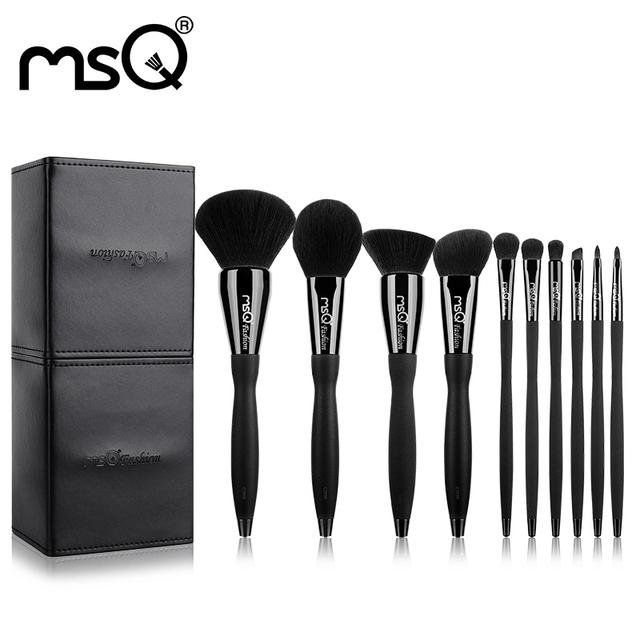 Msq nueva llegada maquillaje pinceles set 10 unids profesional de la belleza cosmética herramienta virola de cobre mango de resina con cuero de la pu de cilindro