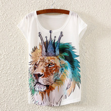 Ink Crown Lion Printed 2017 Summer Style Women s White Loose Casual Shorts Sleeve Tops Tees