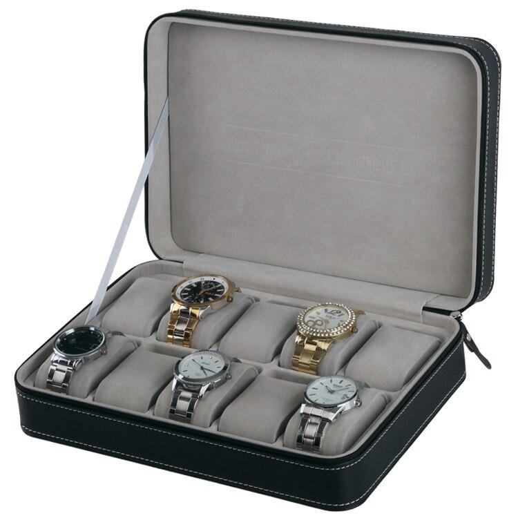 Dropshipping Quality Leather Zipper Watch Bag Portable Leather Bag Watch Case 10Sets Wristwatch Box Storage Fashion Watch Boxes