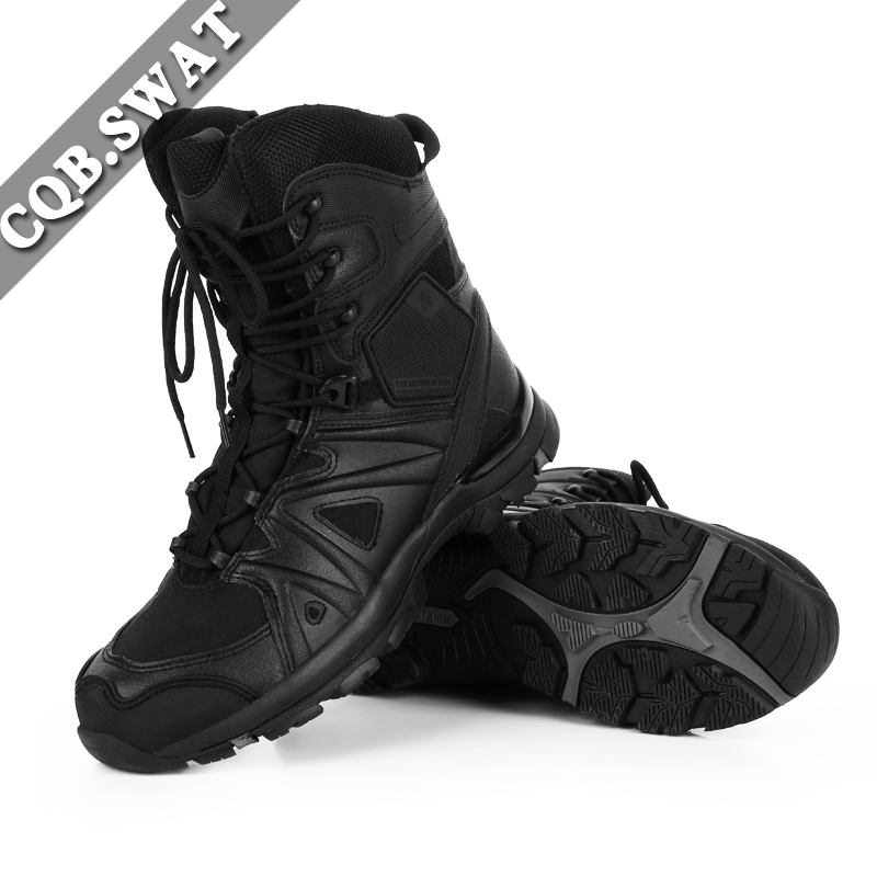 Outdoor Climbing Hiking Military Tactical Mens Force Black Boots Army Combat Zipper Cow Leather Sports Climbing Boot military men s outdoor cow suede leather tactical hiking shoes boots men army camping sports shoes