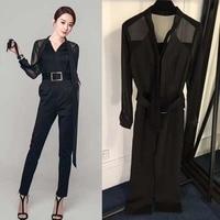 2018 Long elegant women's inserts sexy black jumpsit vadim fashion lace one piece woman clothes affice bodies lsdies overalls