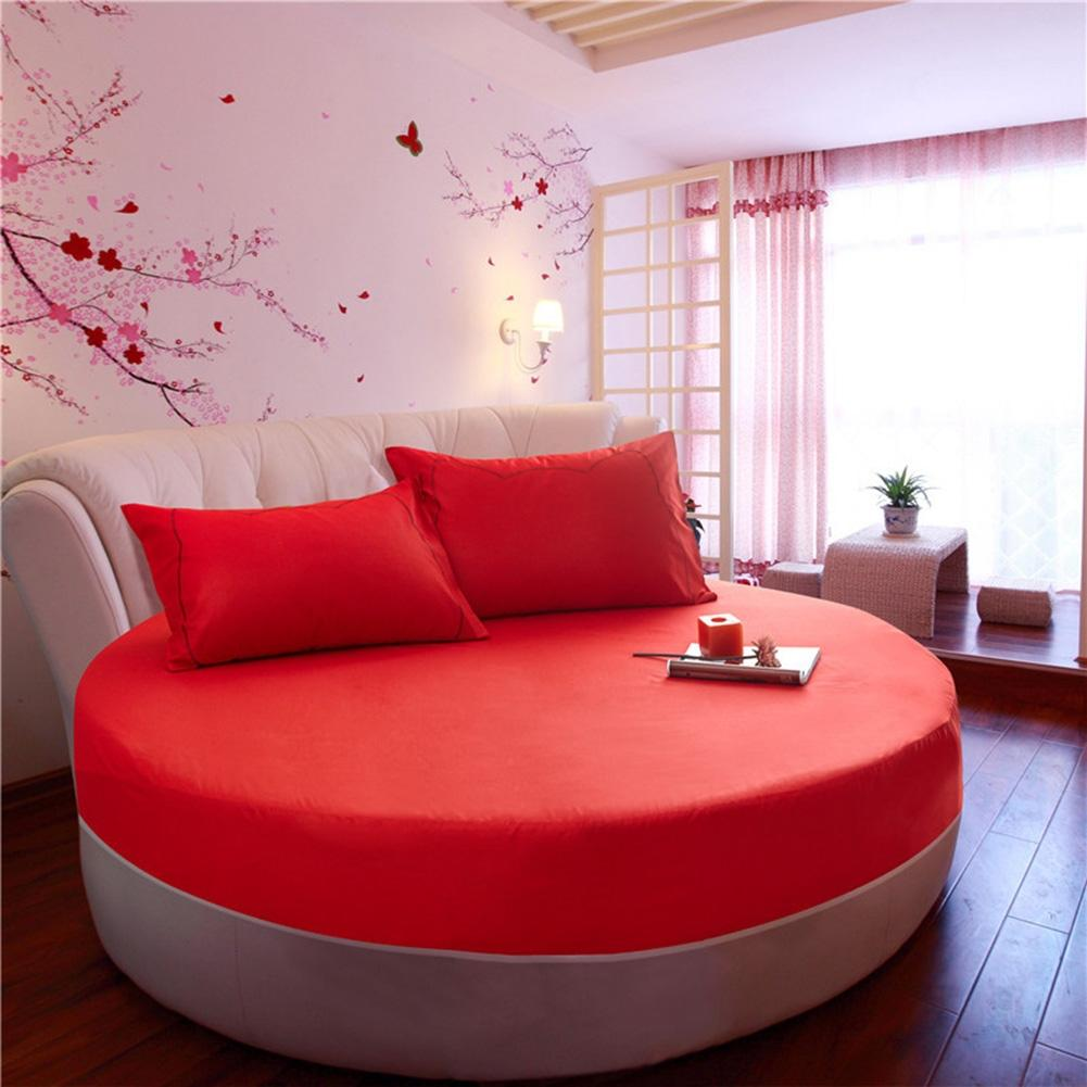 Adeeing Solid Color 100% Cotton Round Fitted Sheet Bed Cover Mattress Topper 200/220CM Wedding Housewarming (no pillowcase)