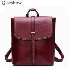 Qiseshow 2017 натуральная кожа рюкзак женщины сумка масло Воск Корова кожа старинные рюкзаки женские Back Pack повседневные сумки на плечо