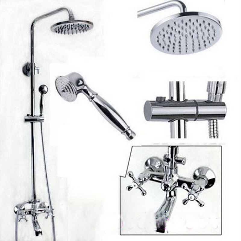 Wholesale And Retail Promotion Luxury Bathroom Wall Mounted 8 Rain Shower Faucet Set Bathtub Mixer Tap Chrome new chrome 6 rain shower faucet set valve mixer tap ceiling mounted shower set