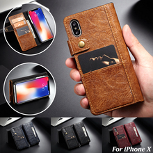 CaseMe Brand Luxury Retro Business Card Holder Leather Case for iPhone X Flip Wallet Cover Apple Phone Cases Coque