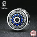 VOROCO Real 100% 925 Sterling Silver Blue Crystals Eyes Round Bead Charms Fit Pandora Charm Bracelets & Bangles Jewelry C092