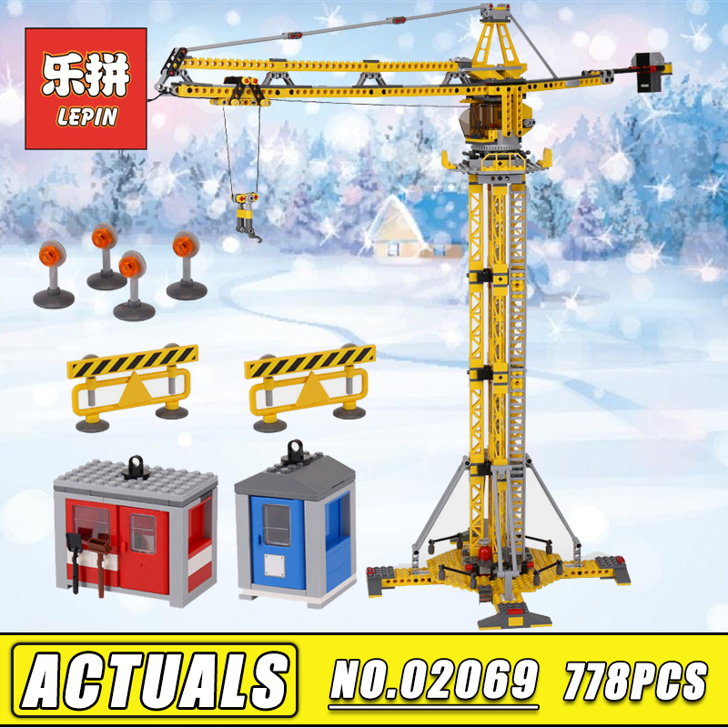In stock 778pcs Lepin 02069 the Building Crane Set Legoinglys City Series compatible 7905 Building Blocks Bricks Children Toys lepin 02012 city deepwater exploration vessel 60095 building blocks policeman toys children compatible with lego gift kid sets