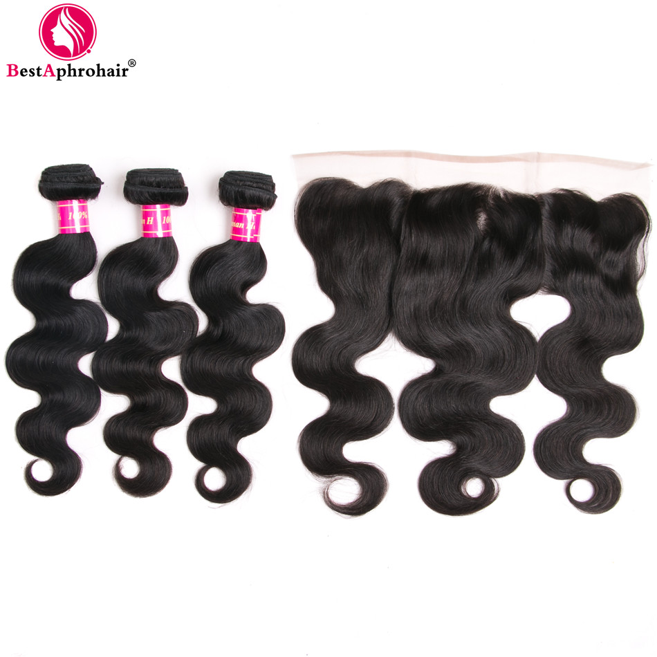 3 Bundles Body Wave With Closure Free Part Brazilian Human Hair Bundles With Closure Lace Frontal And Bundles Non Remy Aphro