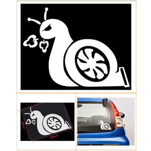 Image 1 - Reinforced Accelerating Snail JDM Turbo Power Sticker Car Window Vinyl Sticker Car Decal Black / Sliver #B1422