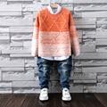 Muchachos de la manera Suéteres Niños Suéter de Invierno 2016 de Los Niños Ropa Para Niños Thicking Pullover O-cuello Suéter Tejido Envío gratis