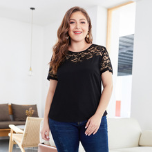 2019 New large-size lace stitching jacket for summer  Fashion womens short-sleeved undercoat shirt