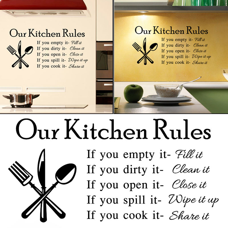 Superior New Fashion Our Kitchen Rules Cook Words Quote Wall Stickers Vinyl Art  Decals Kitchen Dining Room Decor Hopping LXY9 In Wall Stickers From Home U0026  Garden On ...