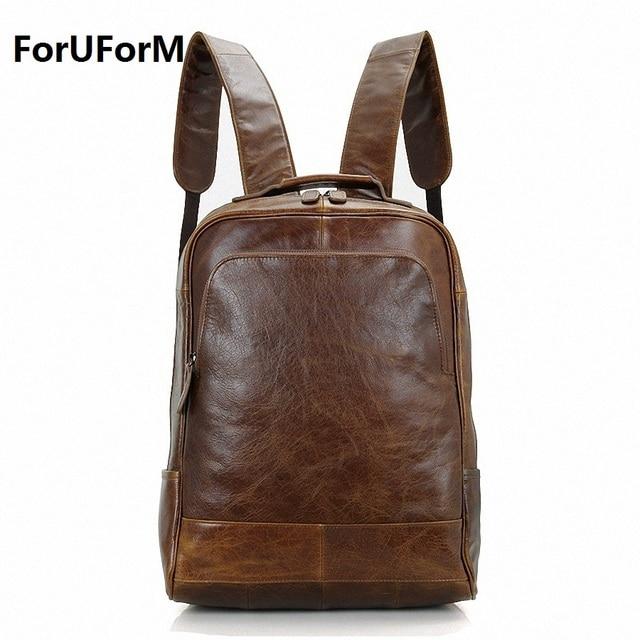 New men Genuine Leather Backpacks Vintage Style Travel Bags men 14 ...