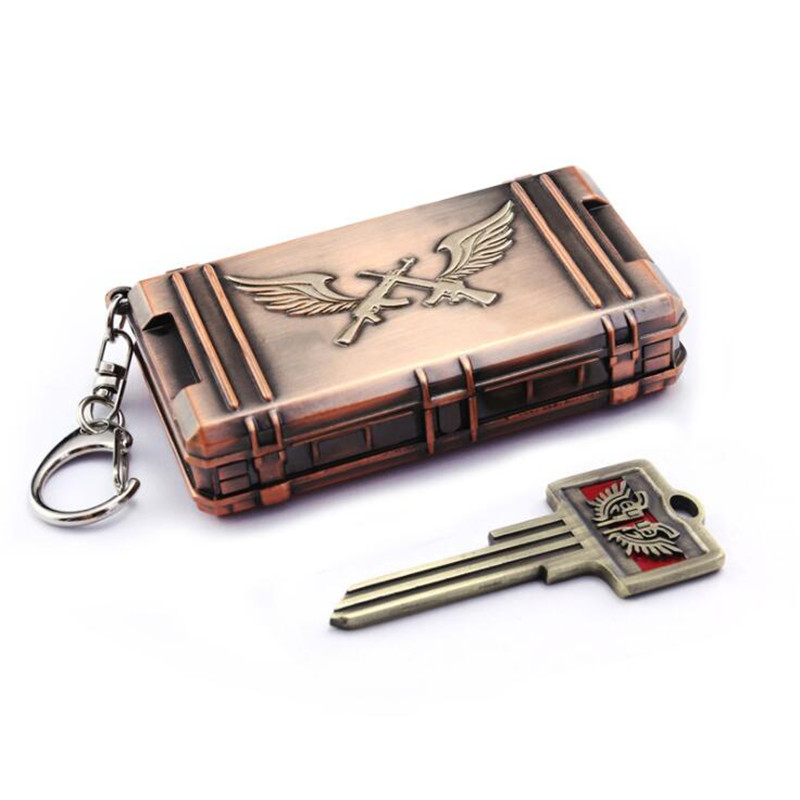 Game PUBG Triumph Treasure Box Chest Playerunknown's Battlegrounds Cosplay Props Funny Fancy Key Chain Set
