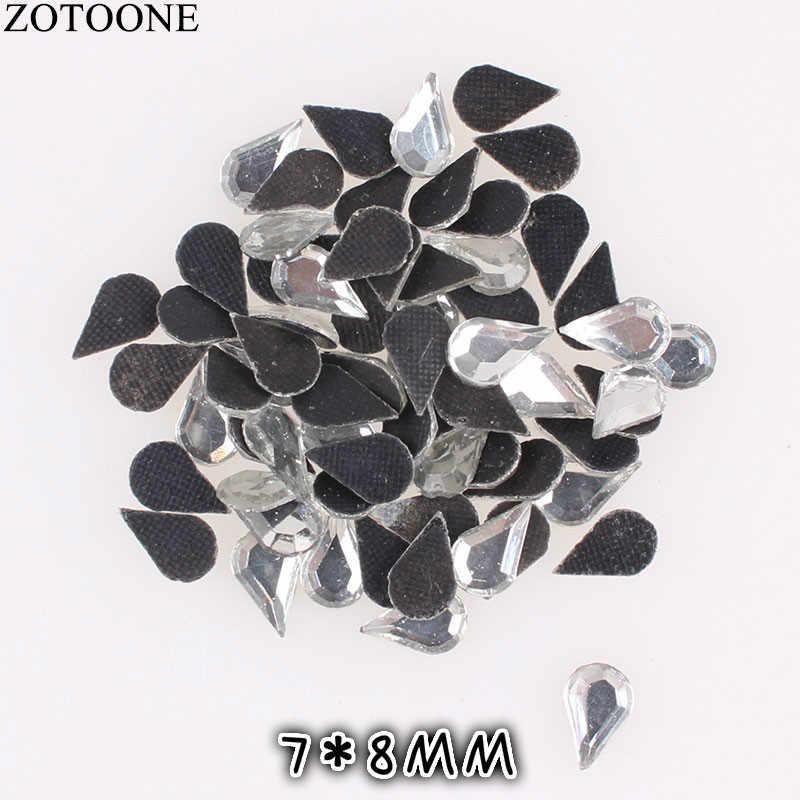 Lote de 50 Uds. De diamantes de imitación para costura de cristal de ZOTOONE para ropa de 3x9mm, diamantes de imitación con parte trasera plana, apliques para uñas