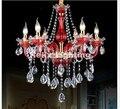 Freies Verschiffen Rot Klar Kristall Kronleuchter Pendelleuchte 6 8 12 Lampen E14 LED Kerzenlampen AC110V 220 V Luxus Kronleuchter beleuchtung luxury chandelier lighting chandelier lightingluxury chandelier -