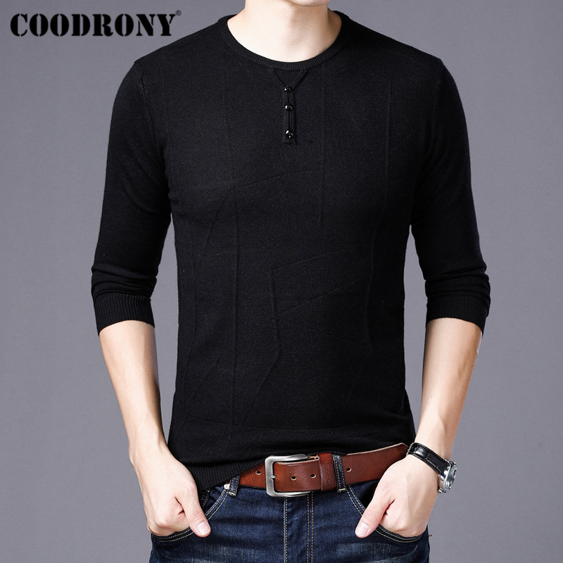 COODRONY Mens Sweaters 2019 New Arrivals Cashmere Cotton Sweater Men Knitwear Pull Homme Casual Button O-Neck Pullover Men 91002