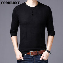 COODRONY Mens Sweaters 2019 New Arrivals Cashmere Cotton Sweater Men Knitwear Pull Homme Casual Button O-Neck Pullover 91002