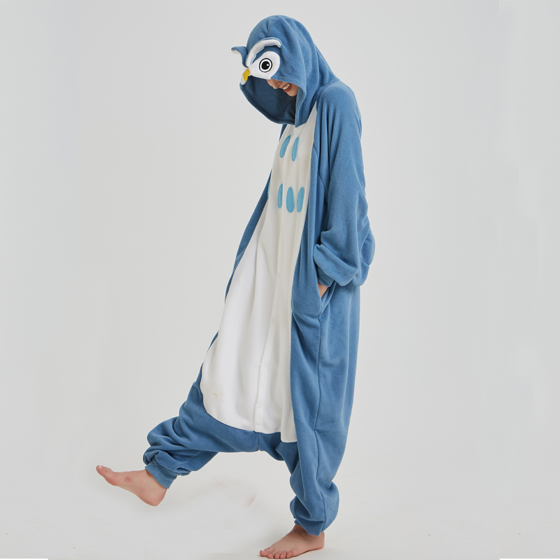 Polar Fleece Blue Owl Onesies For Women Pajamas Kigurumi Batwing Sleeve Long Sleepwear For Halloween Cosplay Parties For Adult (5)