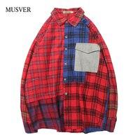 MUSVER Plaid Casual Button Shirts Men 2019 Spring Autumn Cotton Patchwork Hip Hop Long Sleeve Shirt With Cuff Links Streetwear