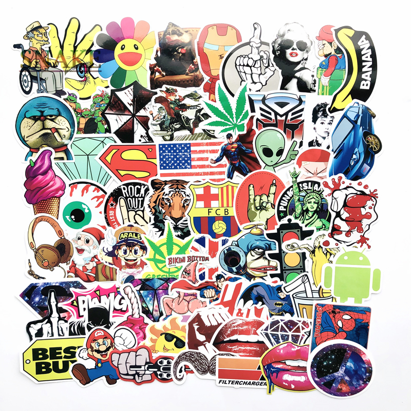 100pcs bag Not repeating waterproof DIY stickers Doraemon sunflower Batman Spider Man For home decor suitcase notebook PVC decal in Car Stickers from Automobiles Motorcycles