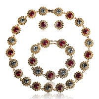 Blucome Romantic Red Rhinestone Necklace Earrings Bracelet Set For Women Bridal Wedding Jewelry Sets Gold Color