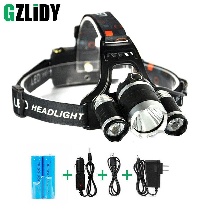 Wiederaufladbare Scheinwerfer 5000Lm xm-3 T6 Scheinwerfer kopf licht Angeln Lampe Jagd Laterne + 2x18650 batterie + Auto/ AC/USB Ladegerät
