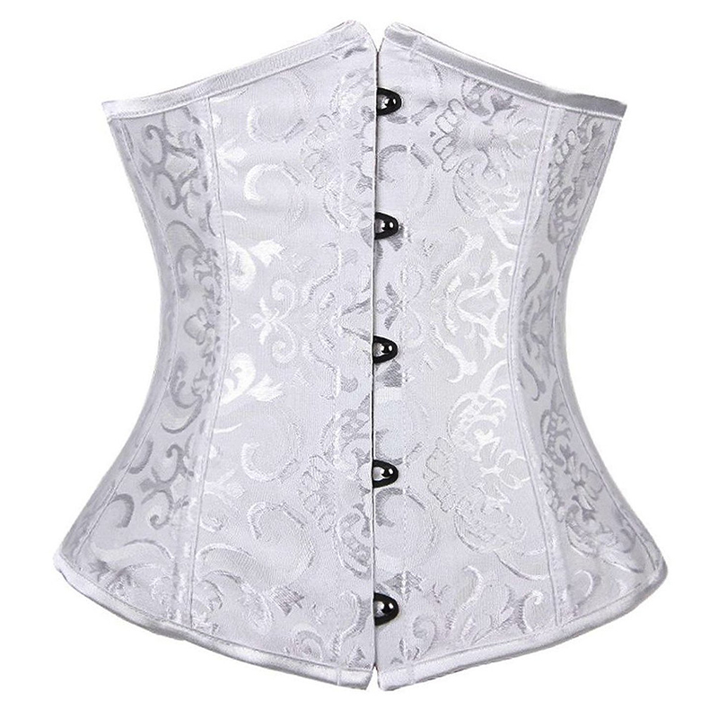 Womens Sexy Boned Satin Underbust Waist Trainer Brocade   Corsets   And   Bustiers   Top Slim Lace Up Cincher Steampumk Shaper