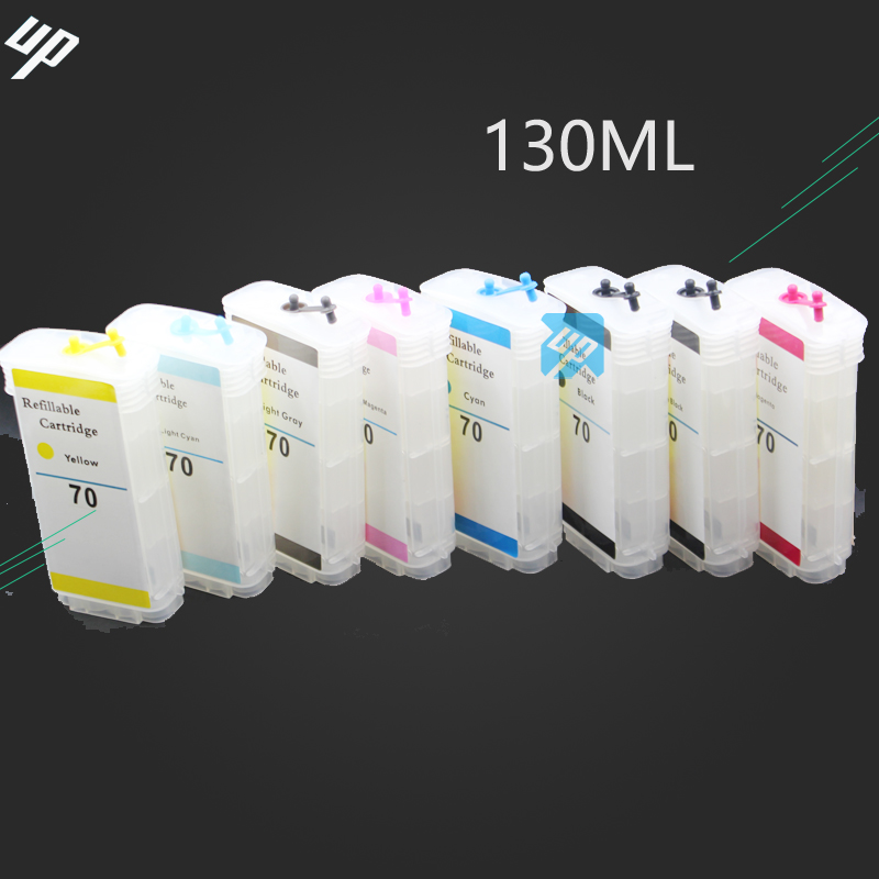 UP brand 130ml 8PCS empty refillable ink cartridge compatible for HP 70 for HP Z2100 Z5200