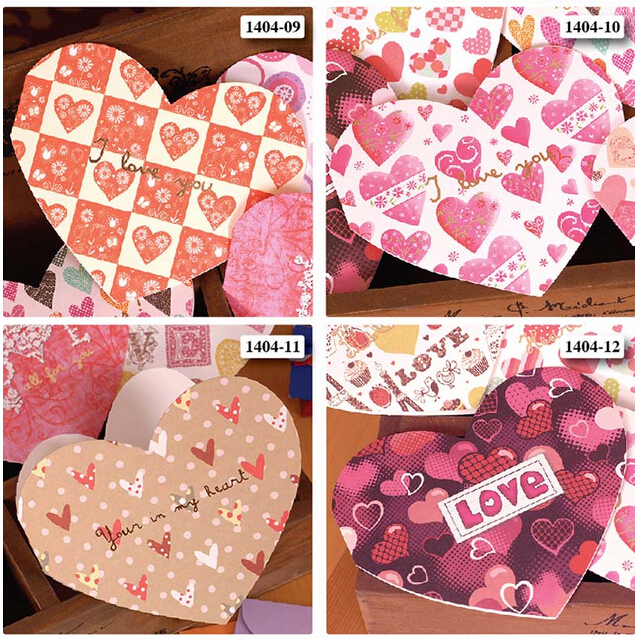 Valentine greeting cards with envelope15 designs sweet heart shaped valentine greeting cards with envelope15 designs sweet heart shaped mini blank greeting cards for loverwedding in cards invitations from home garden m4hsunfo