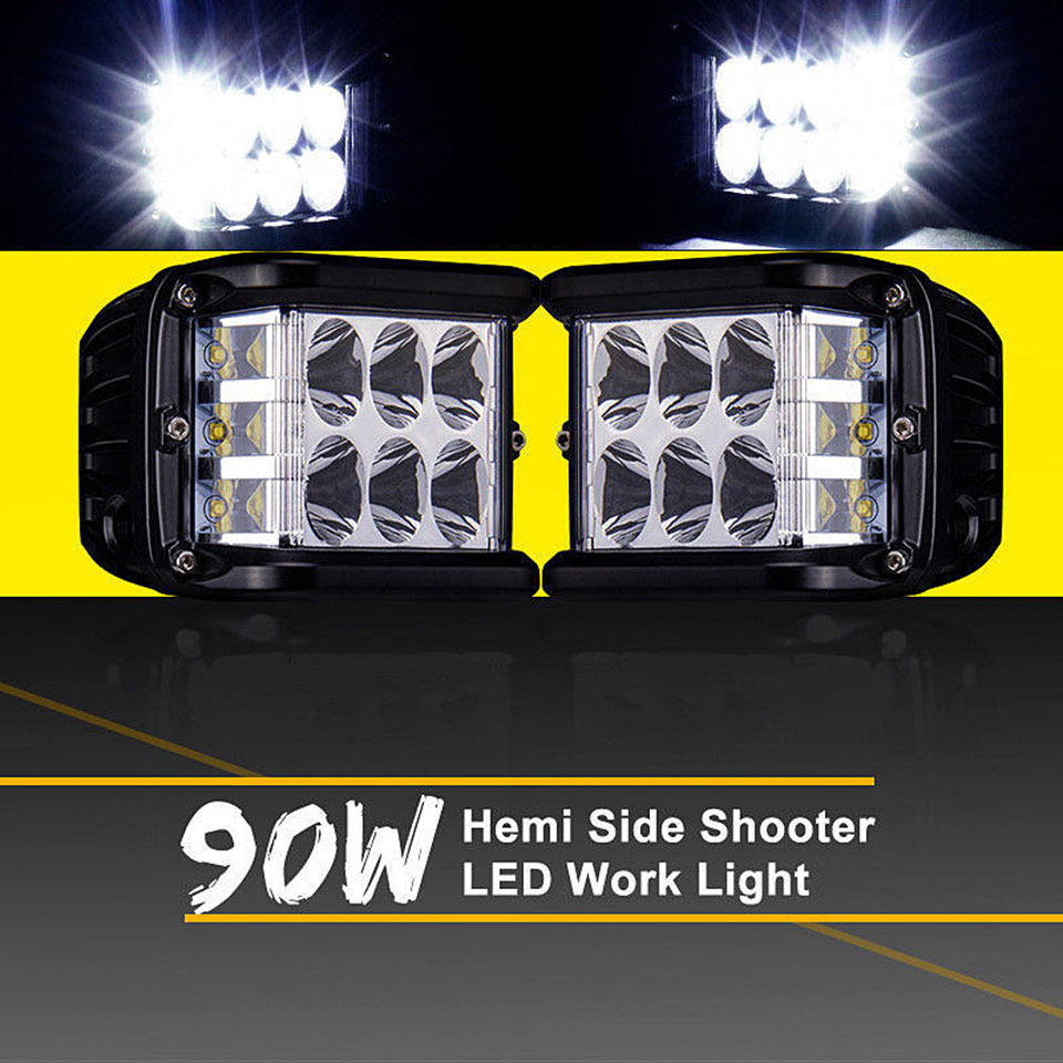 90W Three-sided Luminous Led Work Light Bar Off Road 4x4 Driving Light For Motorcycle Offroad Tractors Truck ATV SUV Boat 12V