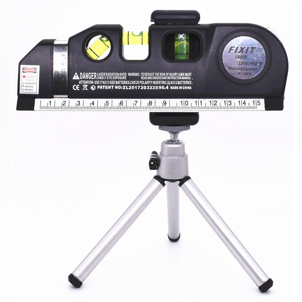 Лазерные нивелиры 4 в 1 поперечные проекты Вертикальные Горизонтальные лазеры линейка Отрегулированная Точная 2 линии с штатив оптические инструменты - Цвет: Laser Level Tripod