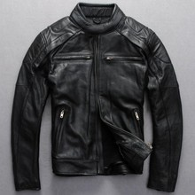 Free shipping new men's 2017 Top Skulls genuine leather motorcycle suit first layer of cowhide motorcycle jacket Special