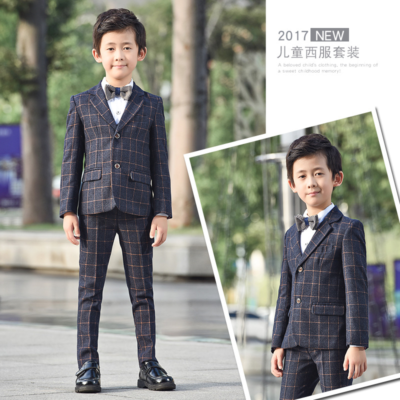 Suit suits - children's autumn suits children's wear 2018 spring and autumn children's casual boys dress baby flower girl suit kimocat boy and girl high quality spring autumn children s cowboy suit version of the big boy cherry embroidery jeans two suits