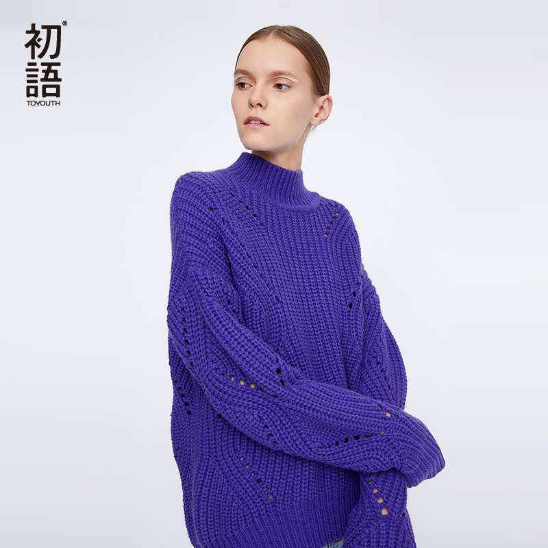1aa60387aa62f ... neck Basic  Toyouth Solid Women s Jumper Turtleneck Sweaters Korean  Knitted Oversize Sweater Hollow Casual Long Sleeve Pullovers ...