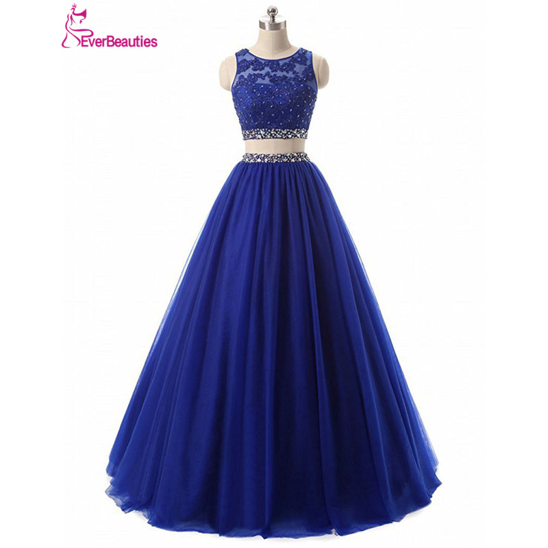 Sexy Two Pieces   Prom     Dresses   2019 Tulle Beaded Ball Gown Evening Party   Dresses   Backless Vestidos De Graduacion Vestidos De Baile
