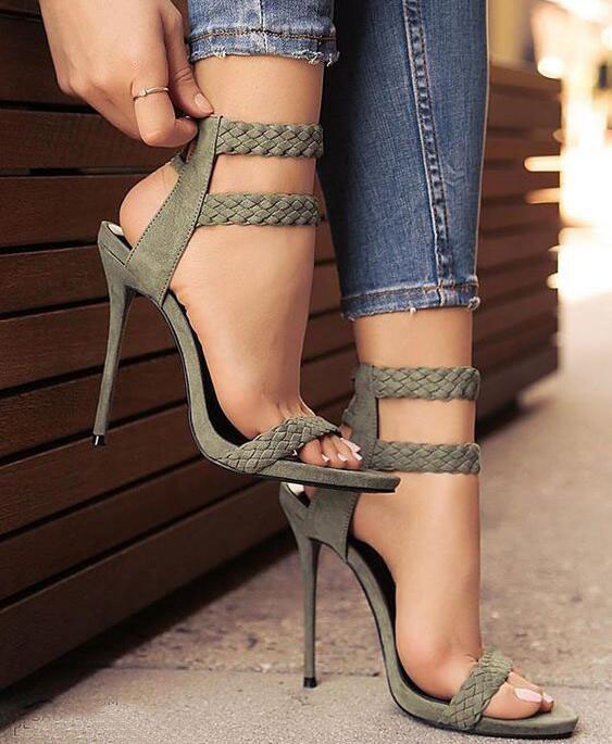 Drop Shipping 2017 Summer Women Sexy Solid Army Green Stiletto Heel Open Toe Comfortable Party High Heel Dress Sandals 2017 fashion stiletto heel sandal army green cross weaving sandals wedding party dress shoes women wholesale drop shipping